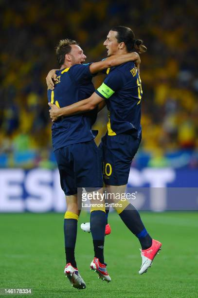 Zlatan Ibrahimovic of Sweden celebrates scoring their first goal with Andreas Granqvist of Sweden during the UEFA EURO 2012 group D match between...