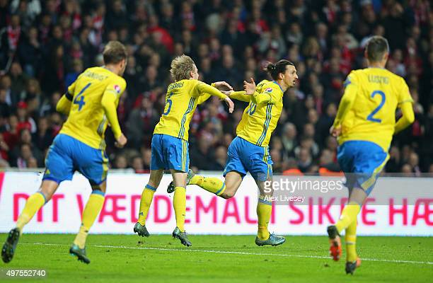 Zlatan Ibrahimovic of Sweden celebrates with Emil Forsberg after scoring the opening goal during the UEFA EURO 2016 Qualifier PlayOff Second Leg...