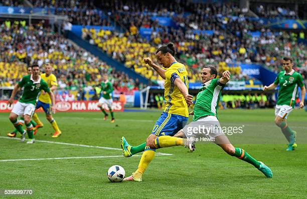 Zlatan Ibrahimovic of Sweden crosses the ball resulting in the own goal by Ciaran Clark of Republic of Ireland during the UEFA EURO 2016 Group E...