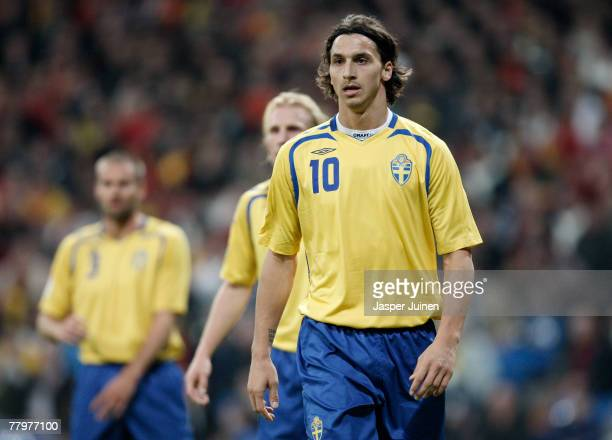 Zlatan Ibrahimovic of Sweden during the Euro 2008 Group F qualifying match between Spain and Sweden at the Santiago Bernabeu Stadium on November 17...