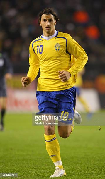 Zlatan Ibrahimovic of Sweden in action during the Euro 2008 Group F qualifying match between Sweden and Latvia at the Rasunda Stadium on November 21...