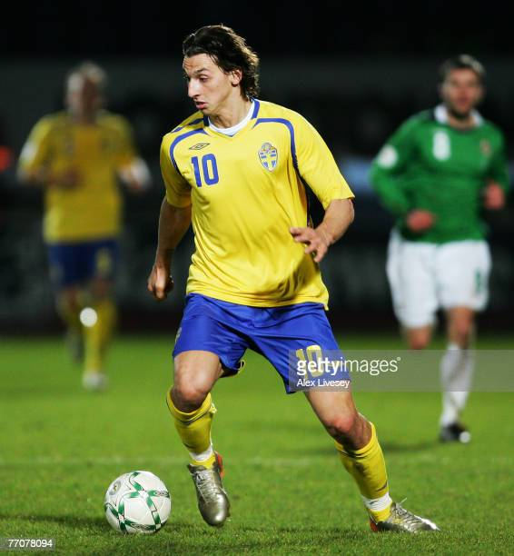 Zlatan Ibrahimovic of Sweden in action during the Euro2008 Group F Qualifying match between Northern Ireland and Sweden at Windsor Park on March 28...