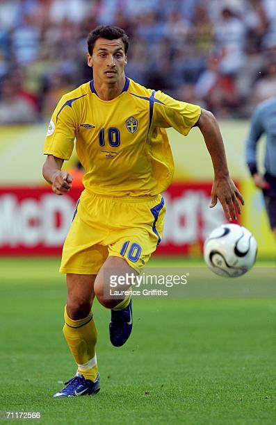 Zlatan Ibrahimovic of Sweden in action during the FIFA World Cup Germany 2006 Group B match between Trinidad Tobago and Sweden at the Stadium...