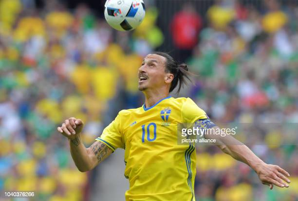 Zlatan Ibrahimovic of Sweden in action during the Group E soccer match of the UEFA EURO 2016 between Ireland and Sweden at the Stade de France in St...