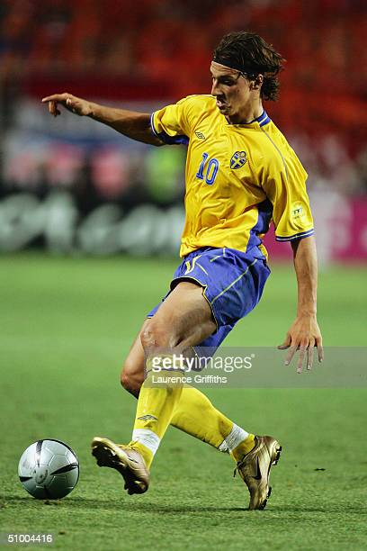 Zlatan Ibrahimovic of Sweden in action during the UEFA Euro 2004, Quarter Final match between Sweden and Holland at the Algarve Stadium on June 26,...