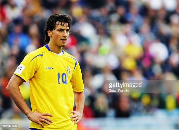 Zlatan Ibrahimovic of Sweden in action during the World Cup 2006 Qualifying match between Sweden and Malta held at the Ullevi Stadium on May 24 2005...