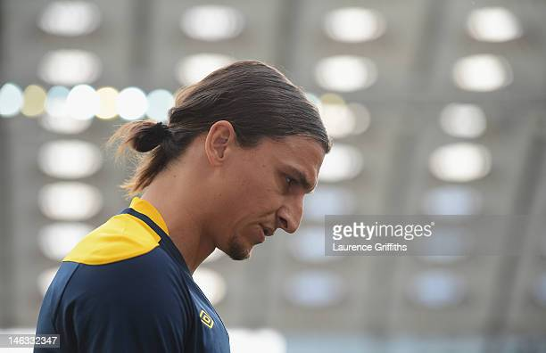 Zlatan Ibrahimovic of Sweden in thoughtful mood during a UEFA EURO 2012 training session at the Olympic Stadium on June 14 2012 in Kiev Ukraine