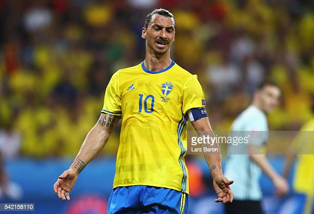 Zlatan Ibrahimovic of Sweden is frustrated during the UEFA EURO 2016 Group E match between Sweden and Belgium at Allianz Riviera Stadium on June 22,...