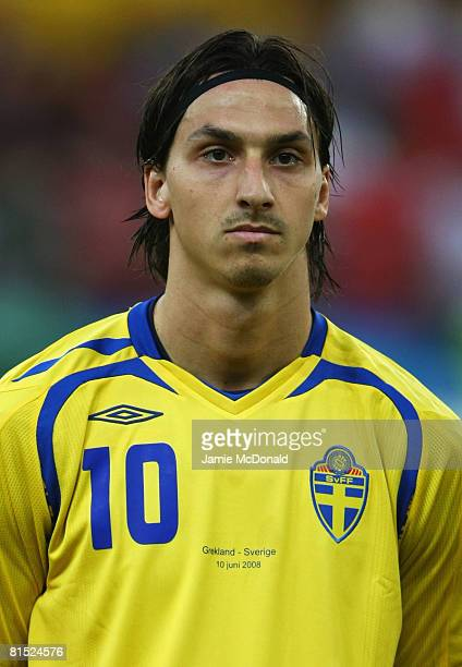 Zlatan Ibrahimovic of Sweden lines up prior to the UEFA EURO 2008 Group D match between Greece and Sweden at Stadion WalsSiezenheim on June 10 2008...