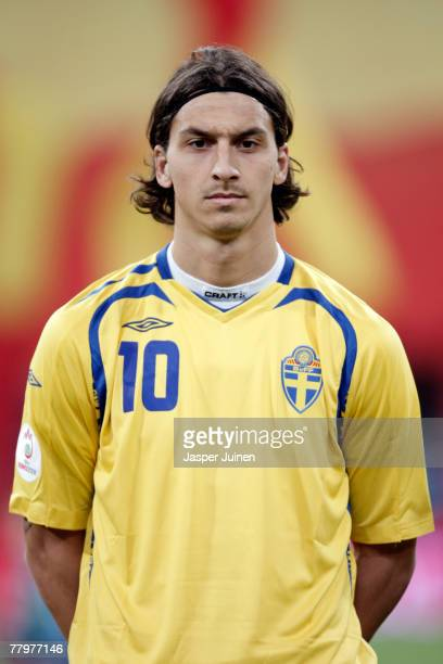 Zlatan Ibrahimovic of Sweden listens to his countries national anthem during the Euro 2008 Group F qualifying match between Spain and Sweden at the...