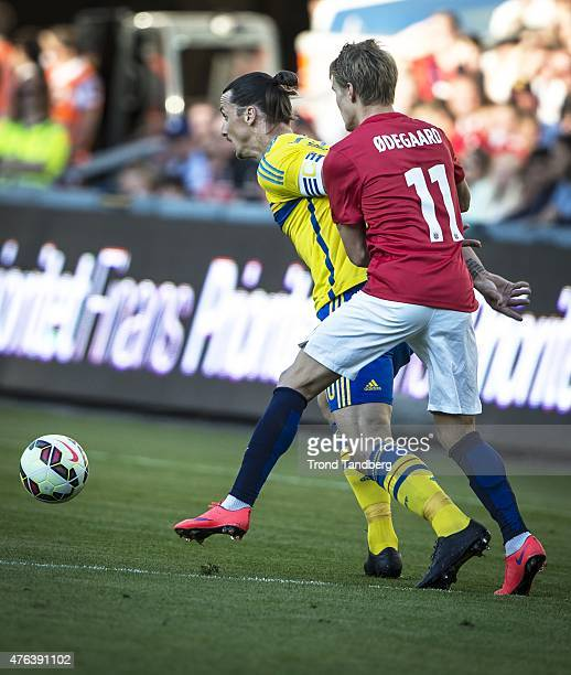 Zlatan Ibrahimovic of Sweden Martin Odegaard of Norway during the International Friendly match between Norway and Sweden at Ullevaal Stadion on June...
