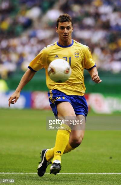 Zlatan Ibrahimovic of Sweden runs with the ball during the FIFA World Cup Finals 2002 Second Round match between Sweden and Senegal played at the...