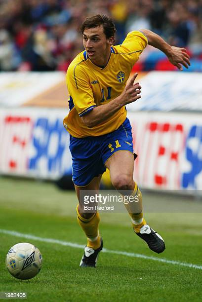 Zlatan Ibrahimovic of Sweden runs with the ball during the International Friendly match between Sweden and Croatia held on April 30 2003 at the...