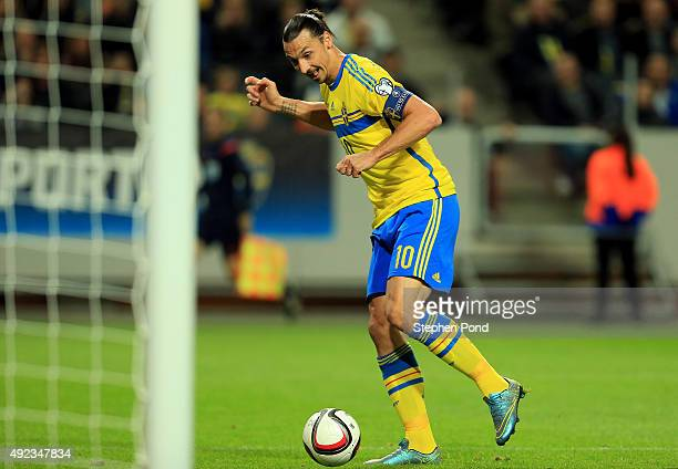Zlatan Ibrahimovic of Sweden scores the opening goal during the UEFA EURO 2016 Qualifying match between Sweden and Moldova at the National Stadium...