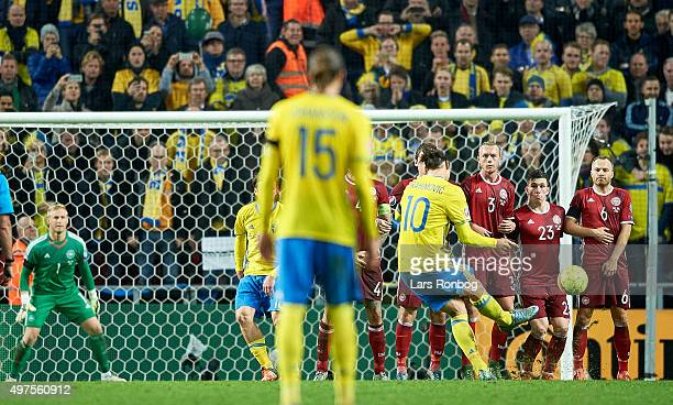 Zlatan Ibrahimovic of Sweden scores their second goal during the UEFA EURO 2016 Qualifier PlayOff Second Leg match between Denmark and Sweden at...