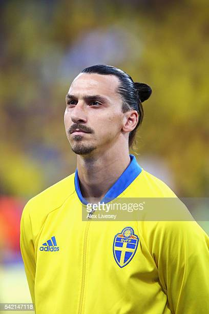 Zlatan Ibrahimovic of Sweden stands during the national anthem ahead of the UEFA EURO 2016 Group E match between Sweden and Belgium at Allianz...