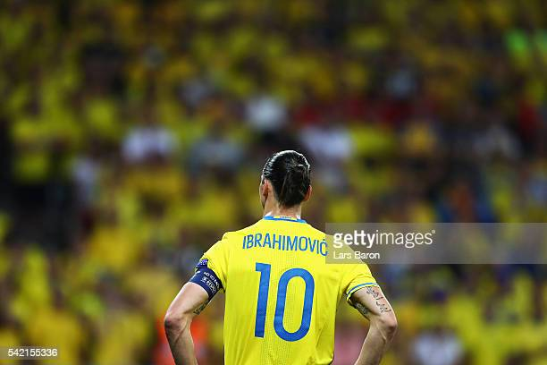 Zlatan Ibrahimovic of Sweden watches on during the UEFA EURO 2016 Group E match between Sweden and Belgium at Allianz Riviera Stadium on June 22 2016...