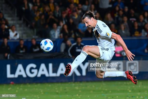 TOPSHOT Zlatan Ibrahimovic of the LA Galaxy scores a disallowed goal in the second half against the New York Red Bulls in their MLS match in Carson...