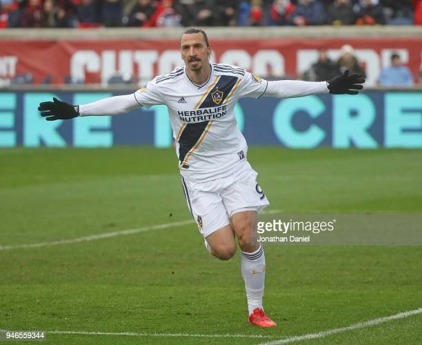 Zlatan Ibrahimovic of the Los Angeles Galaxy celebrates his first half goal against the Chicago Fire at Toyota Park on April 14 2018 in Bridgeview...
