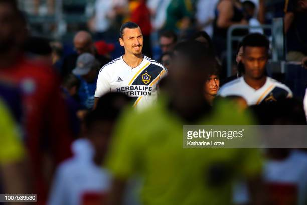 Zlatan Ibrahimovic of the Los Angeles Galaxy enters the field at StubHub Center on July 29 2018 in Carson California