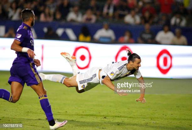 Zlatan Ibrahimovic of the Los Angeles Galaxy heads the ball into the goal at StubHub Center on July 29 2018 in Carson California