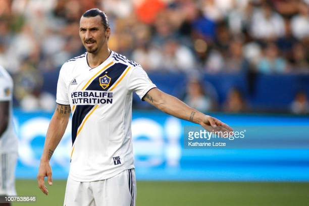 Zlatan Ibrahimovic of the Los Angeles Galaxy prepares for a play at StubHub Center on July 29 2018 in Carson California