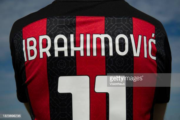 Zlatan Ibrahimovic on the back of an AC Milan home shirt on June 16, 2021 in Manchester, United Kingdom.