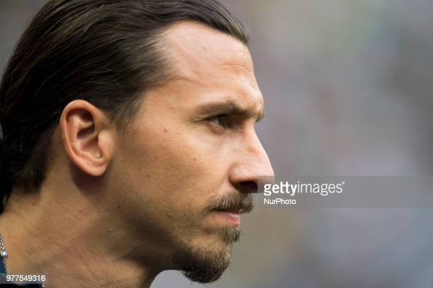 Zlatan Ibrahimovic pictured during the 2018 FIFA World Cup Russia Group F match between Germany and Mexico at Luzhniki Stadium in Moscow Russia on...