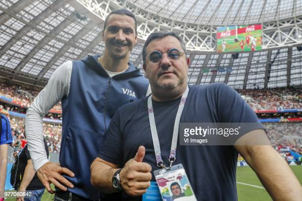Zlatan Ibrahimovic players agent Mino Raiola during the 2018 FIFA World Cup Russia group F match between Germany and Mexico at the Luzhniki Stadium...