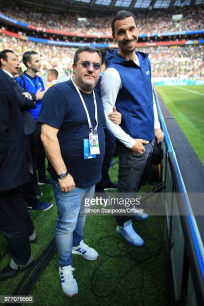 Zlatan Ibrahimovic poses with his agent Mino Raiola ahead of the 2018 FIFA World Cup Russia Group F match between Germany and Mexico at the Luzhniki...