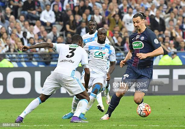 Zlatan Ibrahimovic PSG in action during the final French Cup between Paris Saint-Germain and Olympique de Marseille at Stade de France on May 21,...