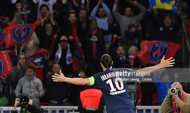 Zlatan Ibrahimovic reacts after scoring his 38 th goal of the season during the French Ligue match between Paris SaintGermain and FC Nantes at Parc...