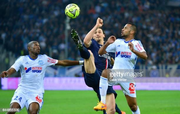 Zlatan IBRAHIMOVIC / Rod FANNI / JacquesAlaixys ROMAO Marseille / Paris Saint Germain 31eme journee de Ligue 1 Photo Dave Winter / Icon Sport