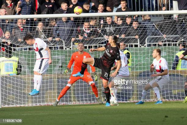 Zlatan Ibrahimovic scores the gol cancelled 03 during the Serie A match between Cagliari Calcio and AC Milan at Sardegna Arena on January 11 2020 in...