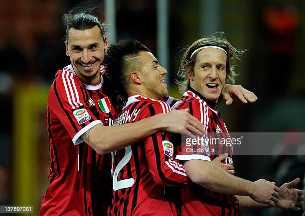 Zlatan Ibrahimovic Stephan El Shaarawy and Massimo Ambrosini of AC Milan celebrates scoring the third goal during the Serie A match between AC Milan...