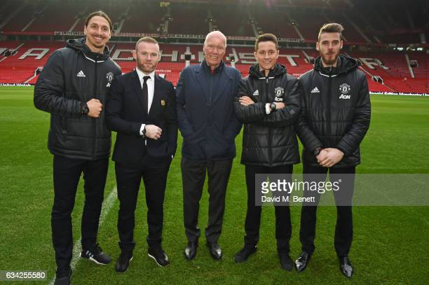 Zlatan Ibrahimovic Wayne Rooney JeanClaude Biver TAG Heuer CEO and President of the LVMH Watch Division Ander Herrera and David De Gea attend the...