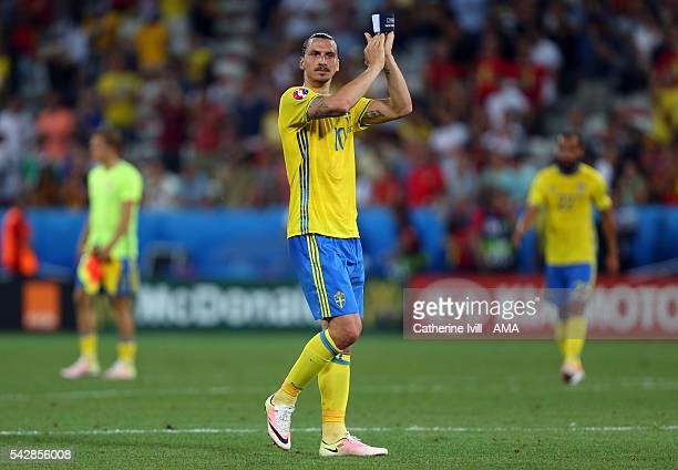 Zlatan Ibrahimovich of Sweden applauds after the UEFA EURO 2016 Group E match between Sweden and Belgium at Allianz Riviera Stadium on June 22 2016...