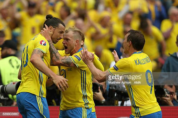 Zlatan Ibrahimovich of Sweden celebrates after Ireland scored an own goal to make it 11 during the UEFA EURO 2016 Group E match between Republic of...