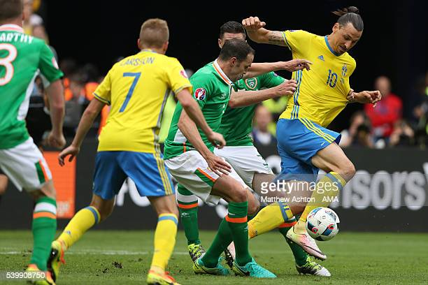 Zlatan Ibrahimovich of Sweden during the UEFA EURO 2016 Group E match between Republic of Ireland and Sweden at Stade de France on June 13 2016 in...