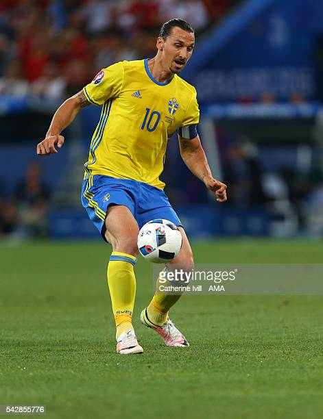 Zlatan Ibrahimovich of Sweden during the UEFA EURO 2016 Group E match between Sweden and Belgium at Allianz Riviera Stadium on June 22, 2016 in Nice,...