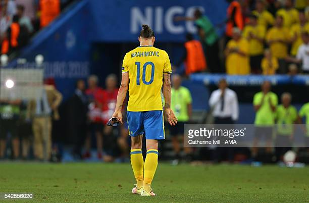 Zlatan Ibrahimovich of Sweden walks off at the end of the UEFA EURO 2016 Group E match between Sweden and Belgium at Allianz Riviera Stadium on June...