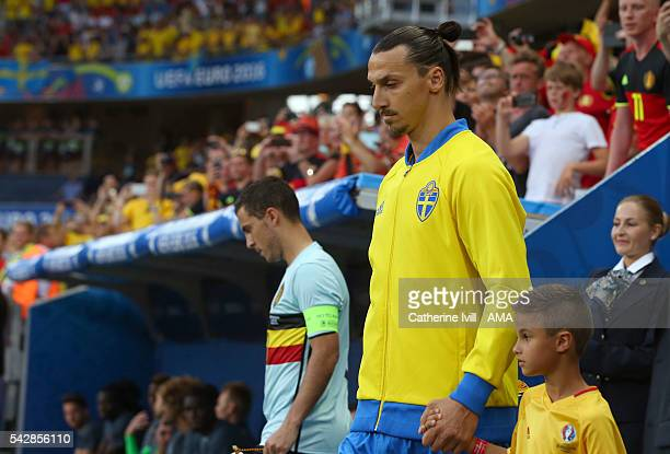 Zlatan Ibrahimovich of Sweden walks out onto the pitch before the UEFA EURO 2016 Group E match between Sweden and Belgium at Allianz Riviera Stadium...