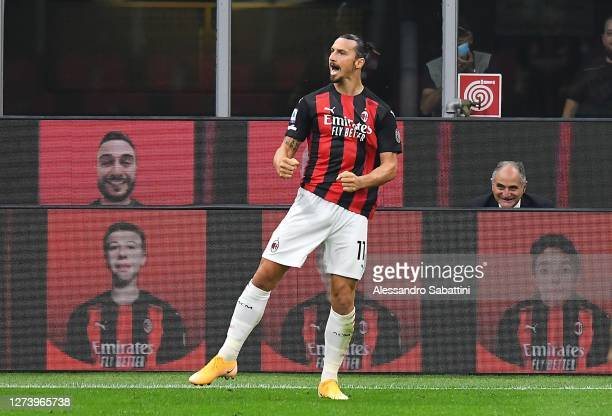 Zlatan Ibraimovic of AC Milan celebrates after scoring the opening goal during the Serie A match between AC Milan and Bologna FC at Stadio Giuseppe...