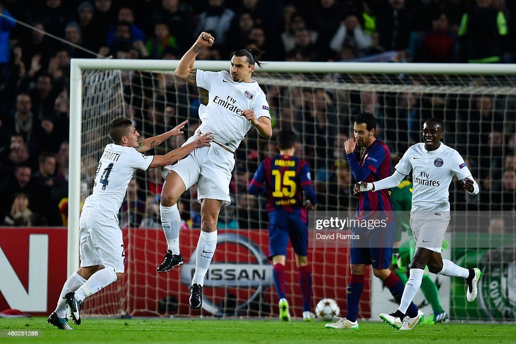 Zlatan Ibraimovic of Paris Saint-Germain FC celebrates after scoring the opening goal during the UEFA Champions League group F match between FC Barcelona and Paris Saint-Germanin FC at Camp Nou Stadium on December 10, 2014 in Barcelona, Spain.