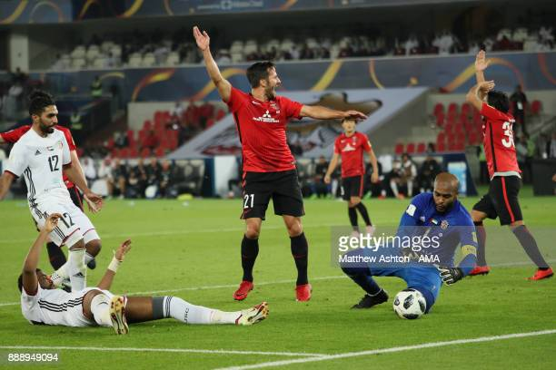 Zlatan Ljubijankic of Urawa Red Diamonds and his teammates appeal during the FIFA Club World Cup UAE 2017 match between Al Jazira and Urawa Red...