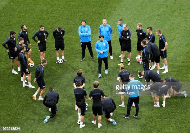 Luka Modric of Croatia and teammates warm up during the field scouting ahead the match with Argentina as part of groups stage of FIFA World Cup...