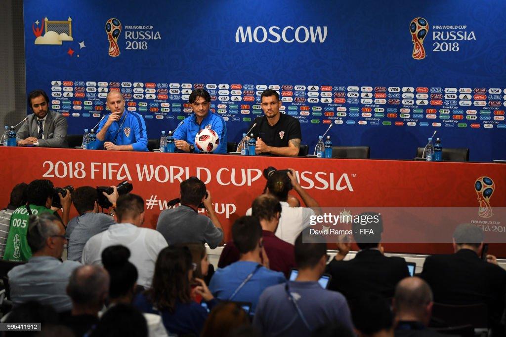Zlatko Dalic, Head coach of Croatia and Dejan Lovren of Croatia speak to media during the Croatia Press Conference at the Luzhniki Stadium on July 10, 2018 in Moscow, Russia.