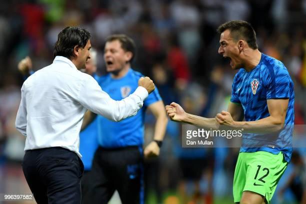 Zlatko Dalic Head coach of Croatia and Lovre Kalinic of Croatia celebrate after Ivan Perisic of Croatia scores their team's first goal during the...