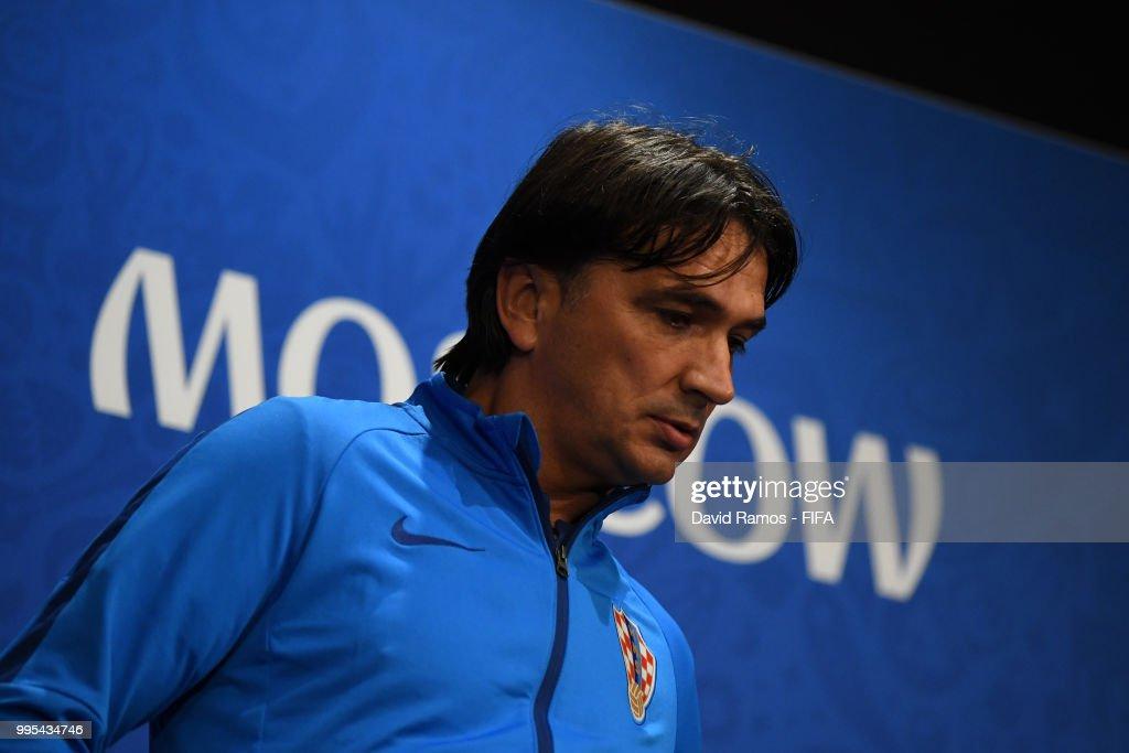 Zlatko Dalic, Head coach of Croatia arrives at the Croatia Press Conference at the Luzhniki Stadium on July 10, 2018 in Moscow, Russia.