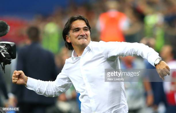 Zlatko Dalic Head coach of Croatia celebrates following his sides victory in the 2018 FIFA World Cup Russia Round of 16 match between Croatia and...